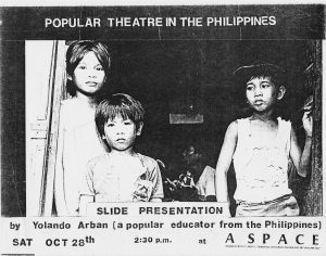 Poster for a slide presentation on Popular Theatre in the Philippines