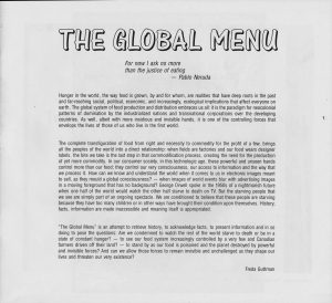 Artist's introduction to the Global Menu