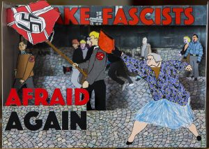 A pop-up depicting a woman hitting a neo-nazi in the head with a purse.