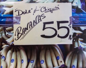 Chiquita bananas being sold in a supermarket.