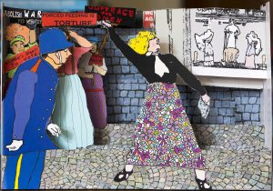 Pop-up depicting a suffragette throwing a rock, as a police officer looks on.